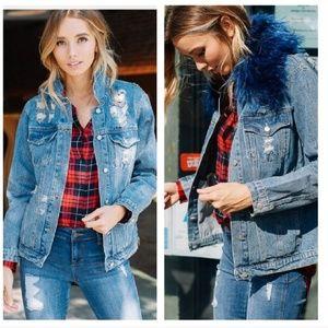 Jackets & Blazers - NEW Distressed Denim Jacket w/ Removable Fur